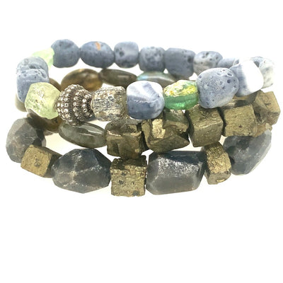 Blue Coral, Ancient Roman Glass, Blue Sapphire, Labradorite, Pyrite, Pave Diamond Bracelets