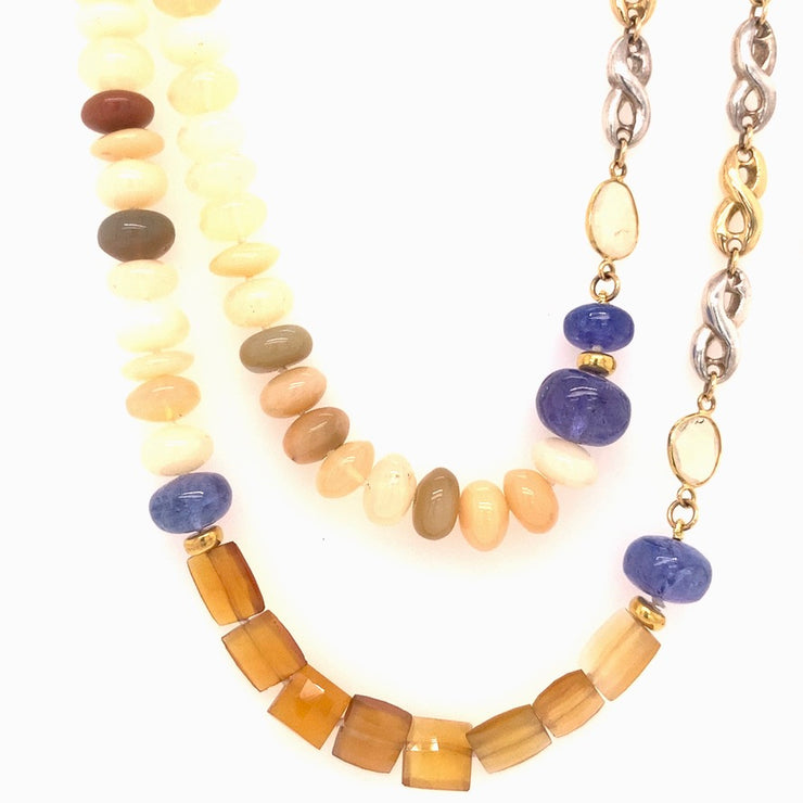 ELLEN HOFFMAN DESIGNS 18K GOLD AND STERLING SILVER IMPERIAL TOPAZ, ETHIOPIAN OPAL, TANZANITE CONTINUOUS INFINITY LINK NECKLACE