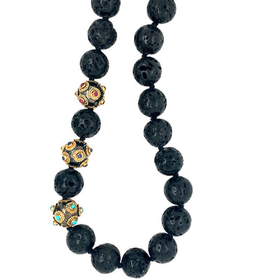 ELLEN HOFFMAN DESIGNS 20K GOLD, STERLING SILVER INDONESIAN BLACK LAVA, TURQUOISE, RUBIES, SAPPHIRES WITH MAGNETIC CLASP