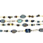 ELLEN HOFFMAN DESIGNS 18K GOLD, STERLING SILVER ANCIENT FOLDED ROMAN GLASS, OPAL, LABRODORITE NECKLACE