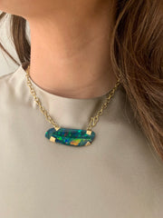 18k Gold Opal Doublet, Chain Pendant Necklace