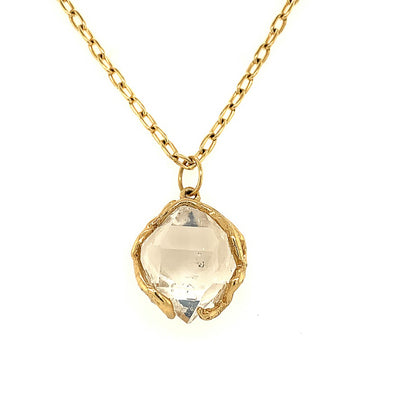ELLEN HOFFMAN DESIGNS 18-KARAT GOLD HERKIMER DIAMOND PENDANT NECKLACE