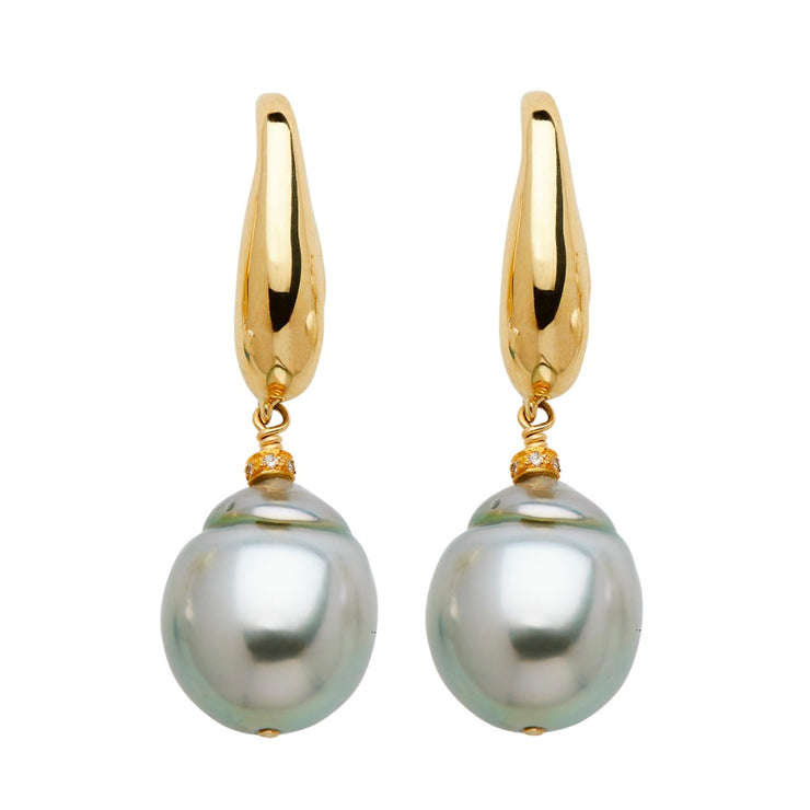 ELLEN HOFFMAN DESIGNS 18-KARAT GOLD SILVER-GRAY SOUTH SEA PEARL POST EARRINGS