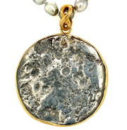 ELLEN HOFFMAN DESIGNS RARE 16TH CENTURY SILVER THAI FLOWER MONEY COIN, TAHITIAN PEARL, 18-KARAT GOLD PENDANT NECKLACE