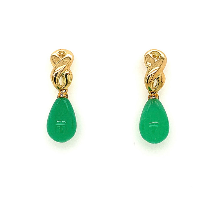 18-KARAT GOLD INFINITY POST EARRINGS WITH CHRYSOPRASE, DIAMOND DROPS