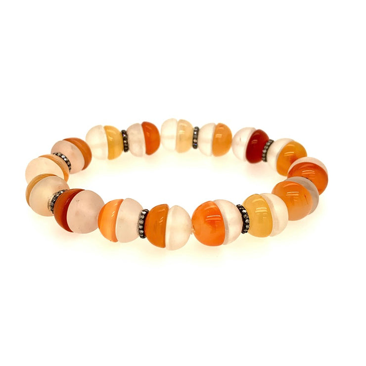 ELLEN HOFFMAN DESIGNS CARNELIAN AND ROCK CRYSTAL HALF-ROUNDS, PAVE DIAMOND BRACELET