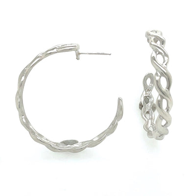 ELLEN HOFFMAN DESIGNS STERLING SILVER LARGE INFINITY HOOP POST EARRINGS