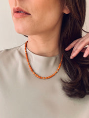 18k Gold Vintage Coral, Diamond Necklace