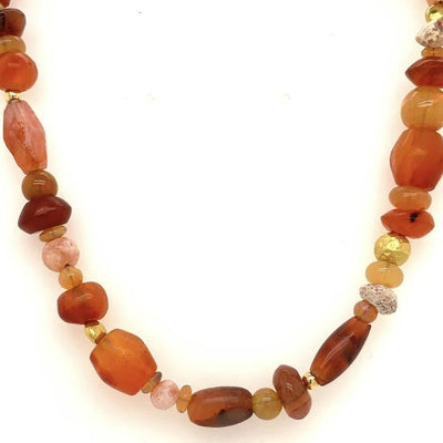 ELLEN HOFFMAN DESIGNS 20-KARAT GOLD ANCIENT CARNELIAN, OPAL NECKLACE