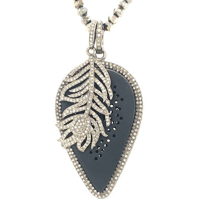 ELLEN HOFFMAN DESIGNS 14K WHITE GOLD, STERLING SILVER PAVE DIAMOND TEARDROP AND FEATHER PENDANTS ON PYRITE NECKLACE
