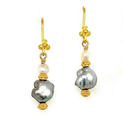 ELLEN HOFFMAN DESIGNS 20-KARAT GOLD TAHITIAN KESHI PEARL EARRINGS