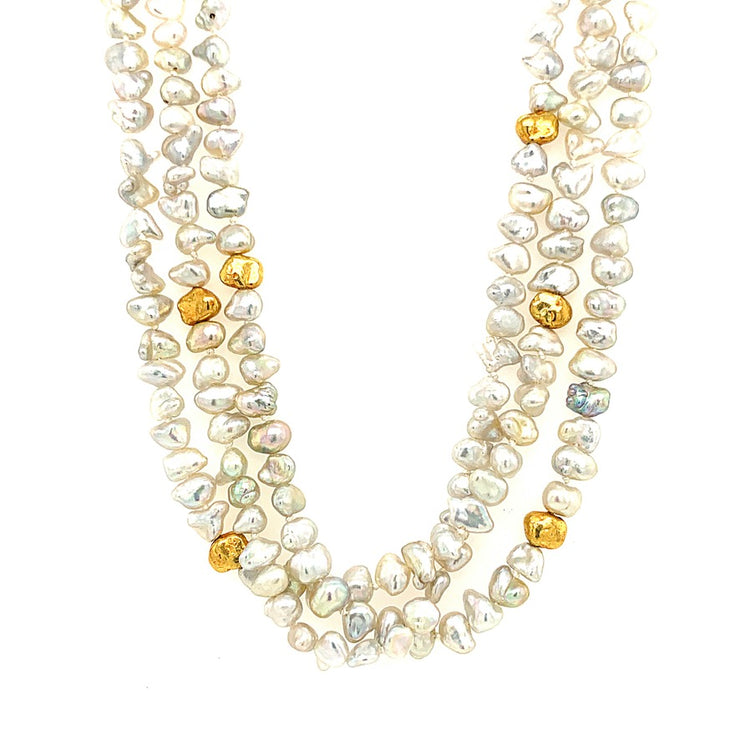 ELLEN HOFFMAN DESIGNS 20-KARAT GOLD JAPANESE AKOYA KESHI PEARL NECKLACE