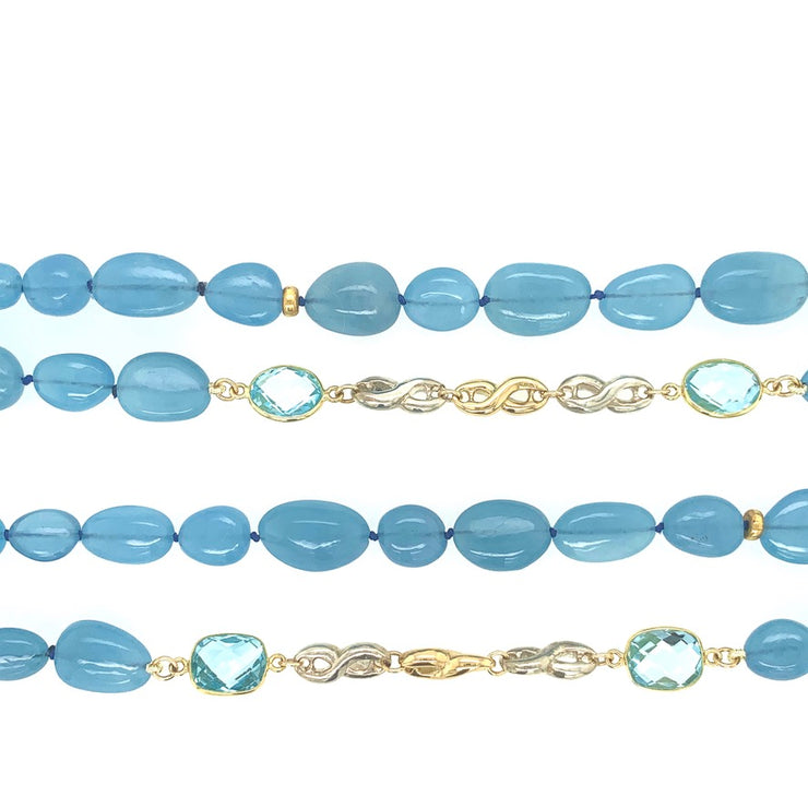 ELLEN HOFFMAN DESIGNS 18K GOLD AND STERLING SILVER AQUAMARINE, BLUE TOPAZ CONTINUOUS INFINITY LINK NECKLACE