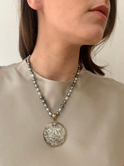 Rare 16th Century Silver Thai Flower Money Coin, Tahitian Pearl, 18k Gold, Diamond Pendant Necklace