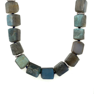ELLEN HOFFMAN DESIGNS 20-KARAT GOLD , PAVE DIAMOND HAND HAMMERED LABRADORITE NECKLACE