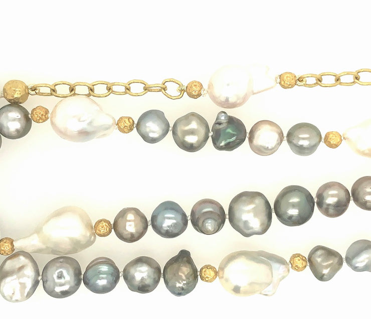ELLEN HOFFMAN DESIGNS 20-KARAT GOLD TAHITIAN AND BAROQUE PEARL CHAIN NECKLACE