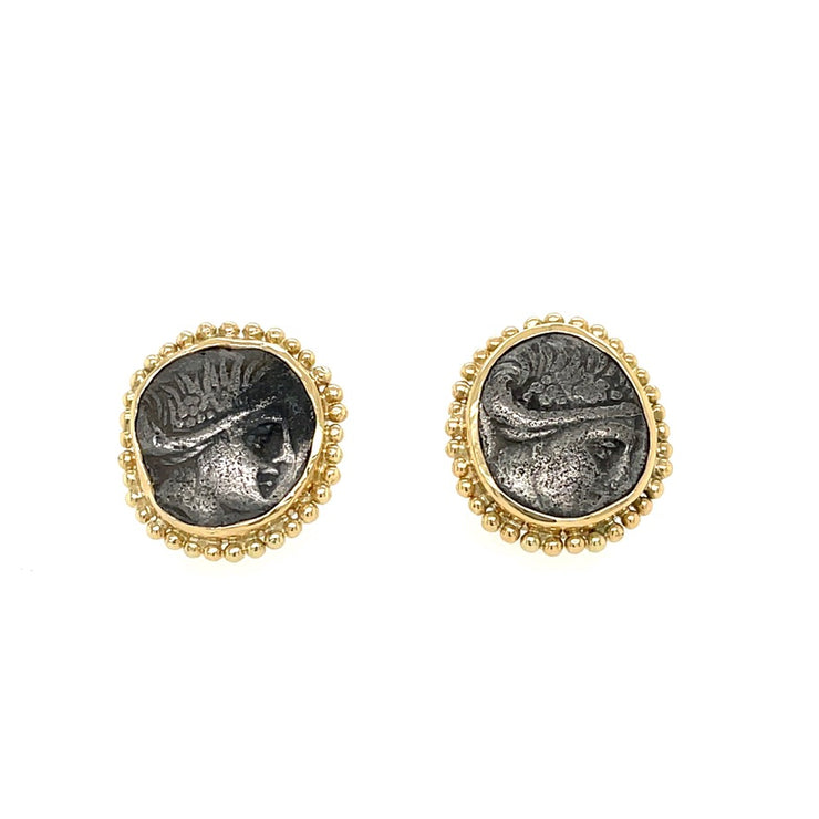 ELLEN HOFFMAN DESIGNS 18-KARAT GOLD EUBOIA-HISTIAIA SILVER COIN POST EARRINGS