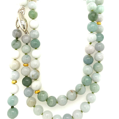 ELLEN HOFFMAN DESIGNS 18K GOLD AND STERLING SILVER JADE INFINITY WRAP NECKLACE WITH LARGE HERKIMER DIAMOND PENDANT