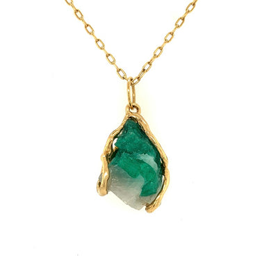 ELLEN HOFFMAN DESOGNS 18K GOLD NATURAL COLOMBIAN EMERALD CHRYSTALS ON QUARTZ PENDANT NECKLACE