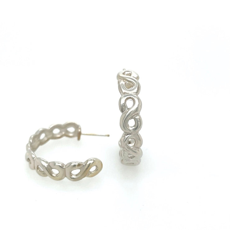 ELLEN HOFFMAN DESIGNS STERLING SILVER SMALL INFINITY HOOP POST EARRINGS