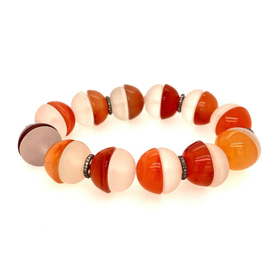 ELLEN HOFFMAN DESIGNS LARGE CARNELIAN AND ROCK CRYSTAL HALF-ROUNDS, PAVE DIAMOND BRACELET