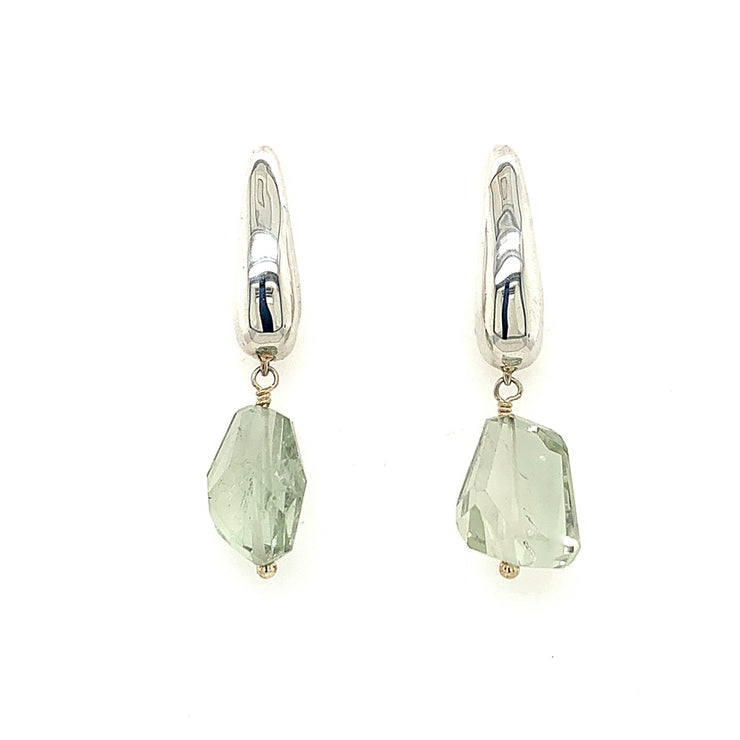 Sterling Silver Teardrop, Multi-Colored Rough Cut Quartz Post Earrings