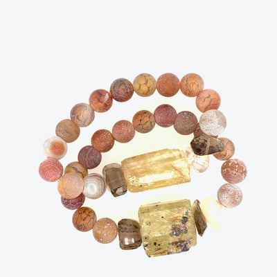 ELLEN HOFFMAN DESIGNS FROSTED CARNELIAN, QUARTZ WITH LARGE APATITE CRYSTAL BRACELET