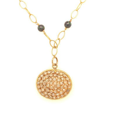 ELLEN HOFFMAN DESIGNS 18K GOLD BOULDER OPAL CHAIN NECKLACE WITH LARGE OVAL DIAMOND PENDANT