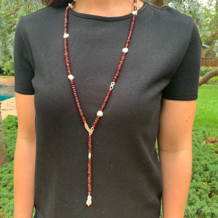 Sterling Silver Garnet and Keshi Pearl Infinity Wrap Necklace with Baroque Pearl Pendant