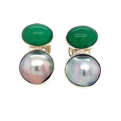 ELLEN HOFFMAN DESIGNS STERLING SILVER CHRYSOPRASE AND SILVER MABE PEARL CLIP-ON EARRINGS