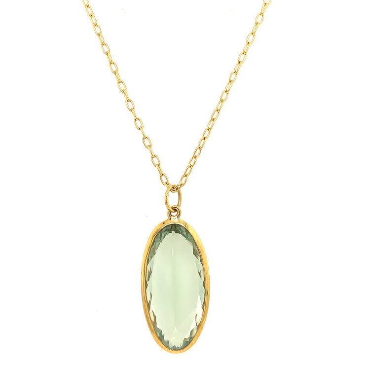 ELLEN HOFFMAN DESIGNS 18K GOLD GREEN AMETHYST PENDANT NECKLACE
