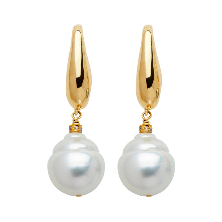 ELLEN HOFFMAN DESIGNS 18-KARAT GOLD TEARDROP, WHITE SOUTH SEA PEARL POST EARRINGS
