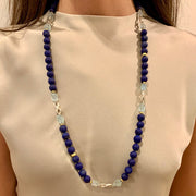 ELLEN HOFFMAN DESIGNS 20K GOLD, STERLING SILVER LAPIS LAZULI AND AQUAMARINE CONTINUOUS NECKLACE