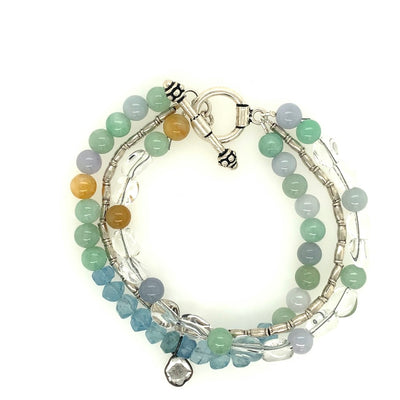 ELLEN HOFFMAN DESIGNS STERLING SILVER AQUAMARINE, JADE, QUARTZ BRACELET WITH SLICED DIAMOND PENDANT