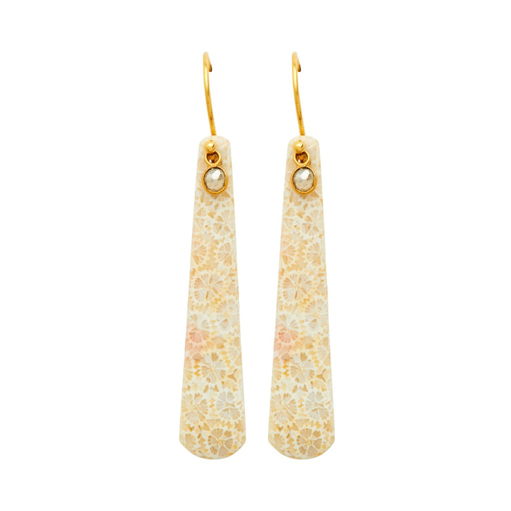 ELLEN HOFFMAN DESIGNS 18-KARAT GOLD INDONESIAN FOSSILIZED CORAL, DIAMOND EARRINGS