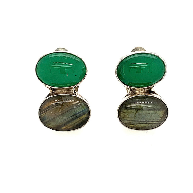 ELLEN HOFFMAN DESIGNS STERLING SILVER CHRYSOPRASE AND LABRADORITE CLIP-ON EARRINGS