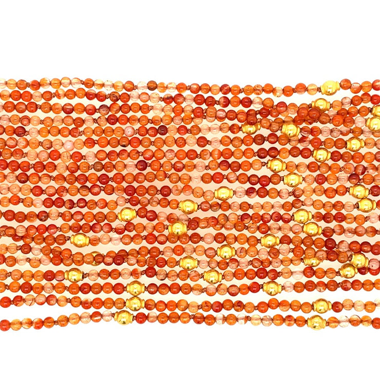 ELLEN HOFFMAN DESIGNS 20K GOLD 10-STRAND CARNELIAN NECKLACE