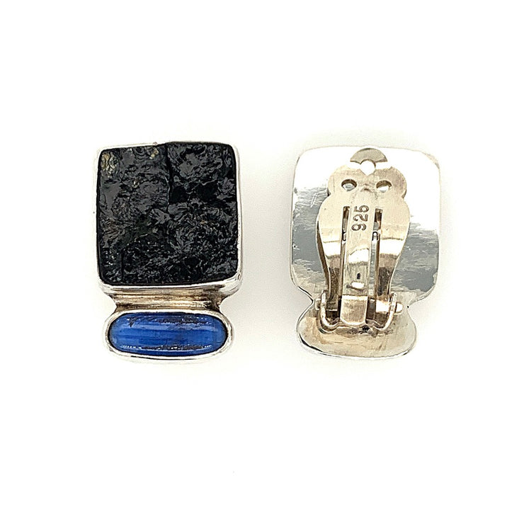 ELLEN HOFFMAN DESIGNS STERLING SILVER AUSTRALIAN BLACK TOURMALINE AND KINITE CLIP-ON EARRINGS