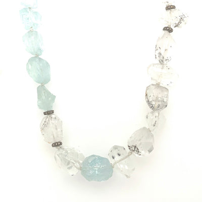 ELLEN HOFFMAN DESIGNS STERLING SILVER AQUAMARINE, HOLLANDITE QUARTZ, PAVE DIAMOND INFINITY LINK NECKLACE