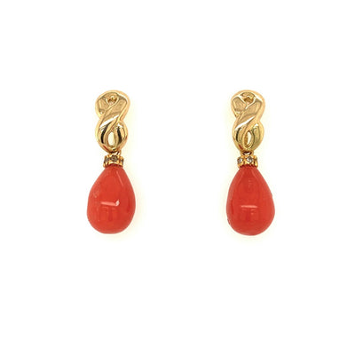 ELLEN HOFFMAN DESIGNS 18-KARAT GOLD MEDITERRANEAN CORAL INFINITY EARRINGS
