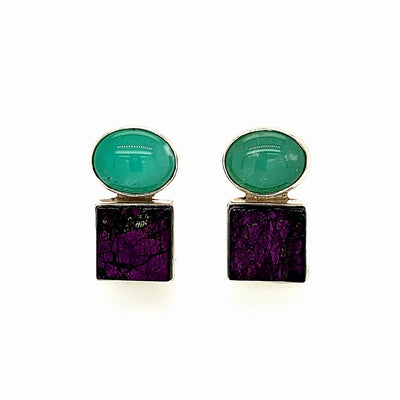 ELLEN HOFFMAN DESIGNS STERLING SILVER CHRYSOPRASE AND PURPURITE POST EARRINGS