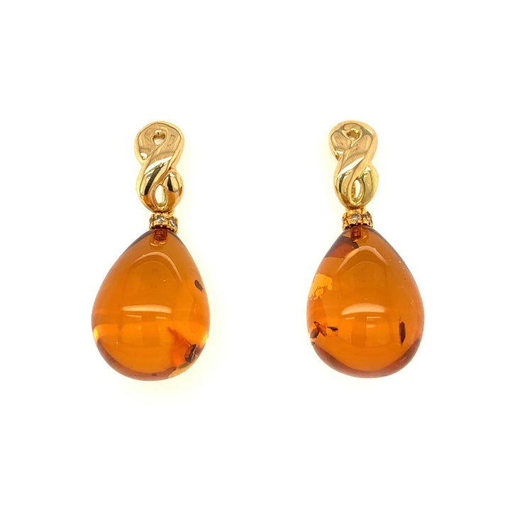 ELLEN HOFFMAN DESIGNS 18-KARAT GOLD DIAMOND AMBER INFINITY EARRINGS