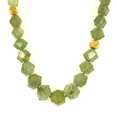 ELLEN HOFFMAN DESIGNS 18K GOLD GREEN GROSSULAR GARNET NECKLACE