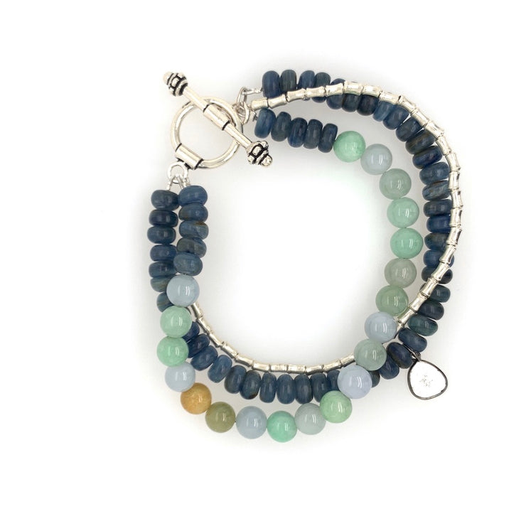 ELLEN HOFFMAN DESIGNS STERLING SILVER NORTHERN THAI, MULTI-COLORED JADE BRACELET WITH SLICED DIAMOND PENDANT
