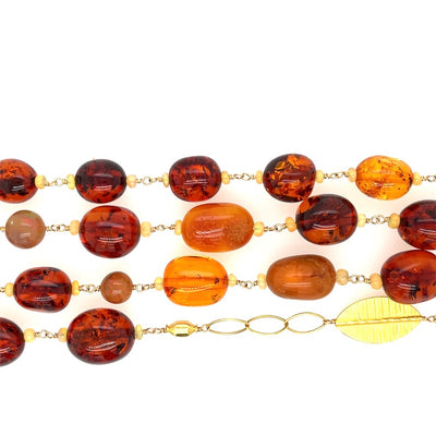 ELLEN HOFFMAN DESIGNS 18K GOLD VINTAGE BALTIC AMBER, ETHIOPIAN OPAL, AND MARQUIS CHAIN NECKLACE