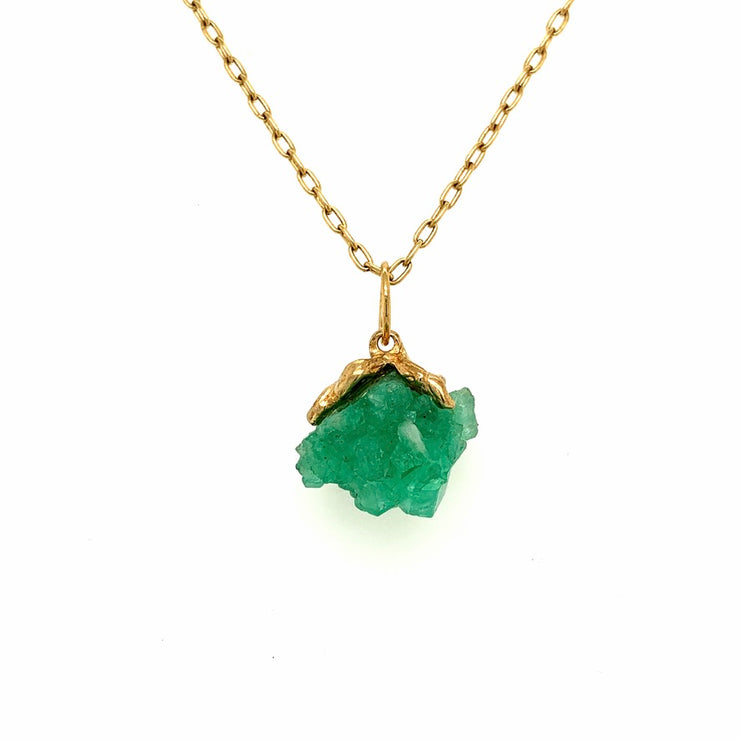 ELLEN HOFFMAN DESIGNS 18K GOLD NATURAL COLOMBIAN EMERALD CRYSTALS PENDANT NECKLACE