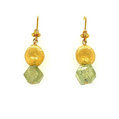 ELLEN HOFFMAN DESIGNS 20K GOLD EAR WIRE GREEN GROSSULAR GARNET EARRINGS