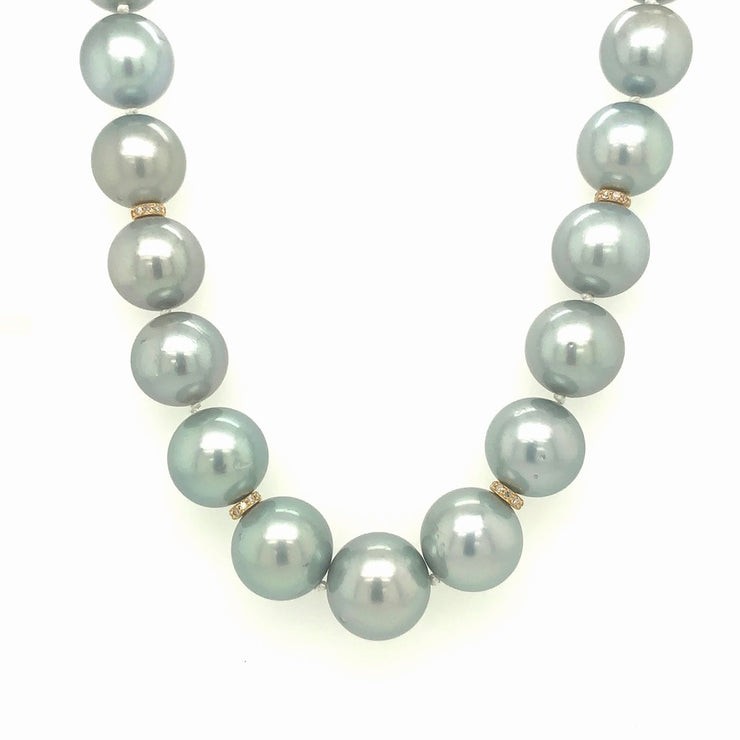 ELLEN HOFFMAN DESIGNS 20-KARAT GOLD SILVER-BLUE SOUTH SEA PEARL AND DIAMOND NECKLACE