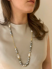 20k Gold Tahitian and Baroque Pearls, Chain Necklace