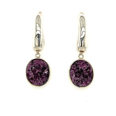 ELLEN HOFFMAN DESIGNS STERLING SILVER LARGE TEARDROP POST EARRINGS WITH PURPLE TOURMALINE CRYSTAL